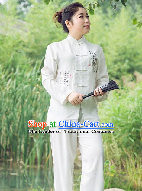 Traditional Chinese Top Linen Kung Fu Costume Martial Arts Kung Fu Training Long Sleeve Plated Buttons White Uniform, Tang Suit Gongfu Shaolin Wushu Clothing, Tai Chi Taiji Teacher Suits Uniforms for Women