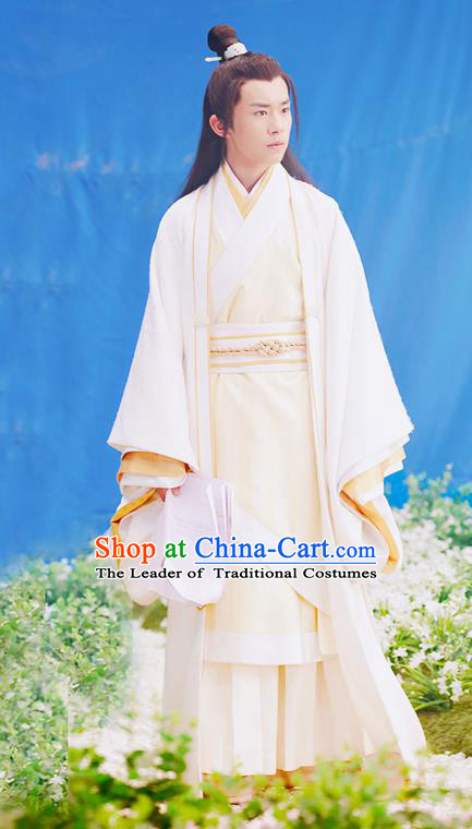 Traditional Ancient Chinese Nobility Childe Costume, Elegant Hanfu Male Lordling Dress Ancient Literati Clothing, China Warring States Period Qu Yuan Imperial Prince Embroidered Clothing for Men