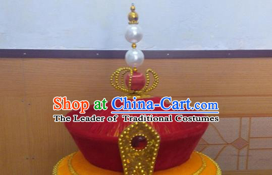 Traditional Chinese Ancient Costume Qing Dynasty Manchu Imperial Emperor Headdress Qing Dynasty King Hat for Men