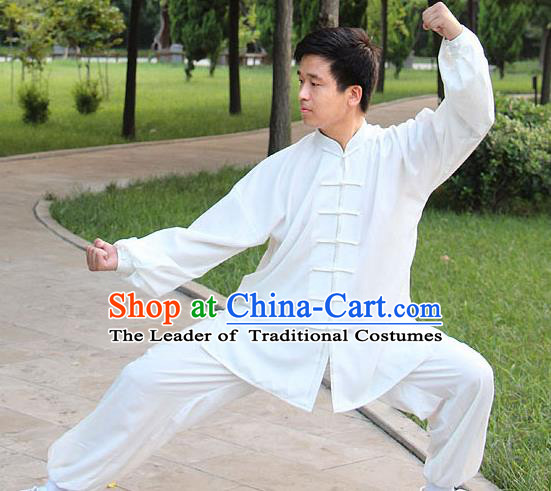 Traditional Chinese Top Silk Cotton Kung Fu Costume Martial Arts Kung Fu Training Plated Buttons White Uniform, Tang Suit Gongfu Shaolin Wushu Clothing, Tai Chi Taiji Teacher Suits Uniforms for Men