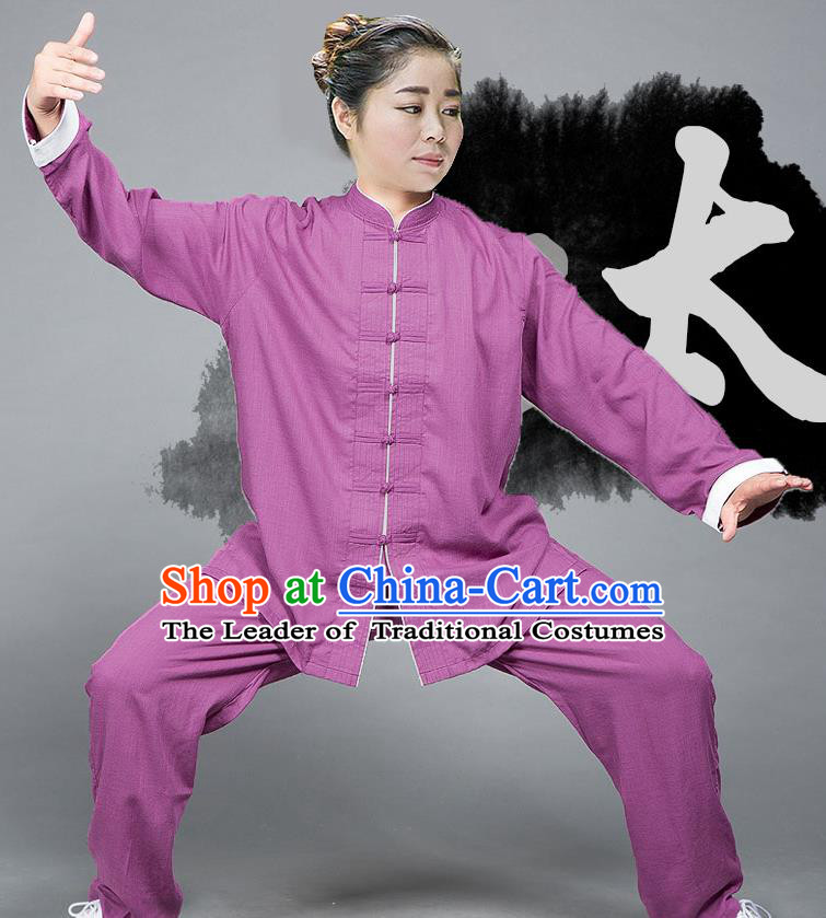Traditional Chinese Top Linen Kung Fu Costume Martial Arts Kung Fu Training Plated Buttons Roll Sleeve Pink Uniform, Tang Suit Gongfu Shaolin Wushu Clothing, Tai Chi Taiji Teacher Suits Uniforms for Women