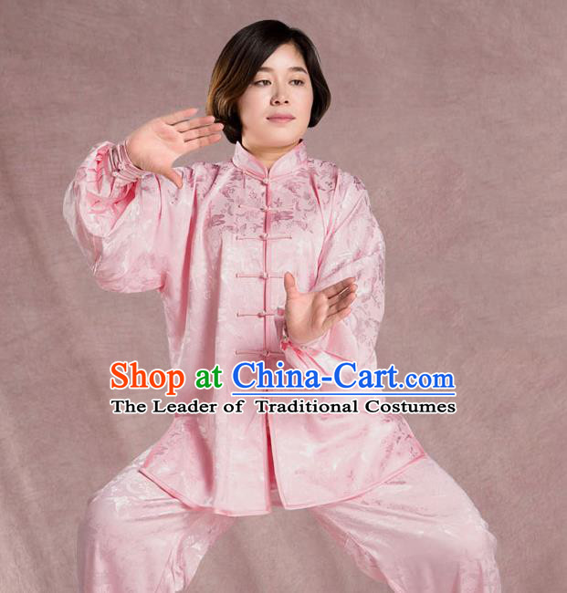 Traditional Chinese Top Silk Kung Fu Costume Martial Arts Kung Fu Training  Jacquard Weave Plated Buttons Uniform, Tang Suit Gongfu Shaolin Wushu Clothing, Tai Chi Taiji Teacher Suits Uniforms for Women