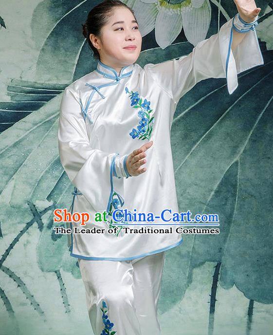 Traditional Chinese Top Stretch Silk Kung Fu Costume Martial Arts Kung Fu Training Embroidery Blue Orchid Uniform, Tang Suit Gongfu Shaolin Wushu Clothing, Tai Chi Taiji Teacher Suits Uniforms for Women