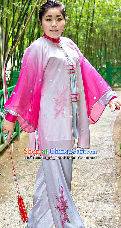 Traditional Chinese Top Stretch Silk Kung Fu Costume Martial Arts Kung Fu Training Embroidery Pink Marble Uniform, Tang Suit Gongfu Shaolin Wushu Clothing, Tai Chi Taiji Teacher Suits Uniforms for Women
