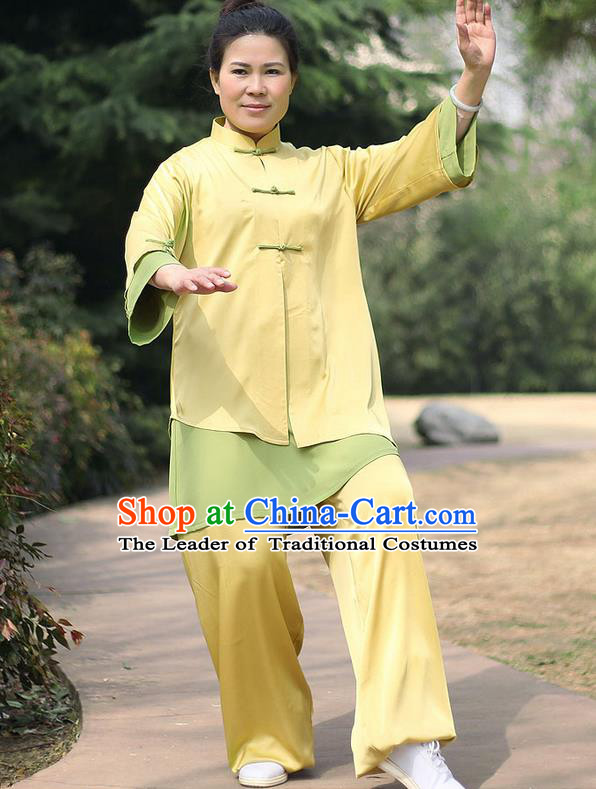 Traditional Chinese Top Stretch Silk Kung Fu Costume Martial Arts Kung Fu Training Uniform, Tang Suit Gongfu Shaolin Wushu Clothing, Tai Chi Taiji Teacher Suits Uniforms for Women
