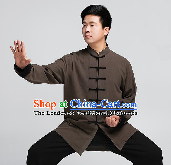 Traditional Chinese Top Muscle Hemp Kung Fu Costume Martial Arts Kung Fu Training Brown Uniform, Tang Suit Gongfu Shaolin Wushu Clothing, Tai Chi Taiji Teacher Suits Uniforms for Men
