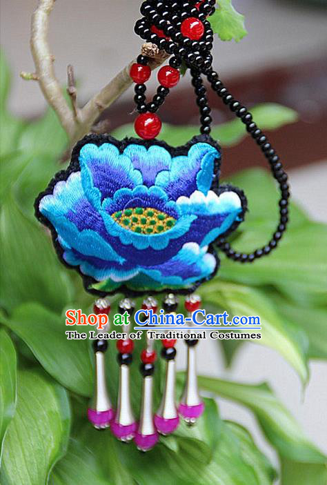 Traditional Chinese Miao Nationality Crafts, Hmong Handmade Double Side Blue Embroidery Tassel Pendant, Miao Ethnic Minority Necklace Accessories Sweater Chain Pendant for Women