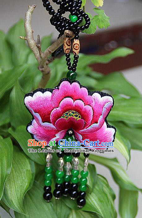 Traditional Chinese Miao Nationality Crafts, Hmong Handmade Double Side Embroidery Tassel Pendant, Miao Ethnic Minority Necklace Accessories Sweater Chain Pendant for Women