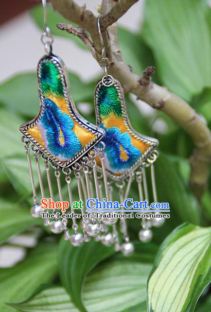 Traditional Chinese Miao Nationality Crafts Jewelry Accessory, Hmong Handmade Embroidery Miao Silver Bells Tassel Earrings, Miao Ethnic Minority Eardrop Accessories Ear Pendant for Women