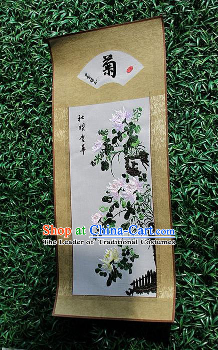Traditional Chinese Miao Nationality Minority Crafts Hmong Xiangxi Embroidery Decorative Paintings, Embroidery Chrysanthemum Scroll Painting for Friends