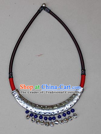 Traditional Chinese Miao Ethnic Minority Necklace, Hmong Handmade Silver Longevity Lock, Miao Ethnic Jewelry Accessories Collarbone Chain Necklace for Women
