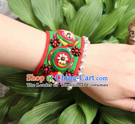 Traditional Chinese Miao Ethnic Minority Palace Jewelry Accessories Canvas Wristbands Bracelet, Hmong Handmade Bracelet Chain Bracelet for Women