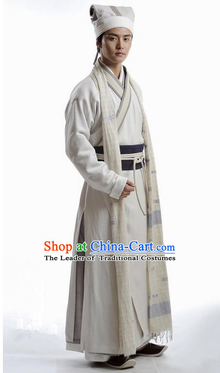Traditional Chinese Ming Dynasty Scholar Costume, Chinese Ancient Scholar Dress and Hat for Men