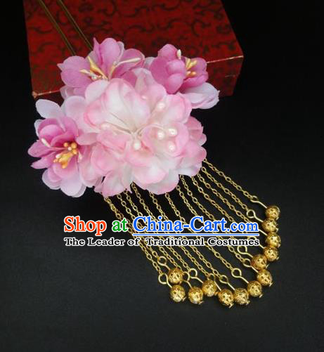 Traditional Handmade Chinese Ancient Classical Hair Accessories Barrettes Hairpin, Flowers Tassel Headdress Hair Jewellery, Hair Fascinators Hairpins for Women
