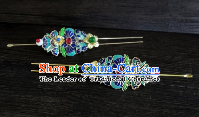 Traditional Handmade Chinese Ancient Classical Hair Accessories Barrettes Lotus Hairpin, Blueing Hair Sticks Pearl Hair Jewellery, Hair Fascinators Hairpins for Women