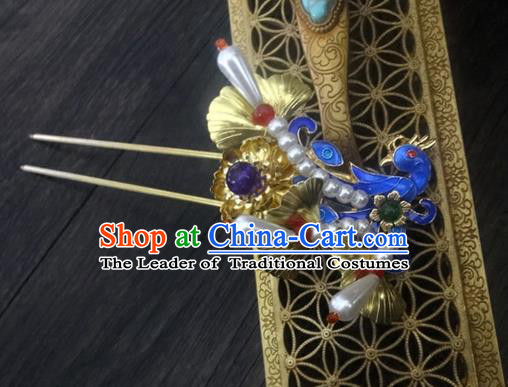 Traditional Handmade Chinese Ancient Classical Hair Accessories Barrettes Imperial Emperess Butterfly Phoenix Hairpin, Blueing Hair Sticks Hair Jewellery, Hair Fascinators Hairpins for Women