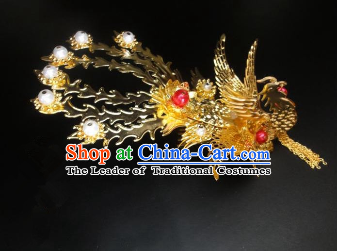 Traditional Handmade Chinese Ancient Classical Hair Accessories Bride Wedding Barrettes Phoenix Coronet, Hair Sticks Hair Jewellery, Hair Fascinators Hairpins for Women