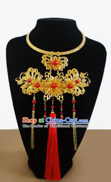 Traditional Handmade Chinese Ancient Classical Jewellery Accessories Necklace, Bride Tassel Wedding Necklace for Women