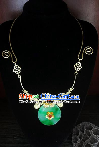 Traditional Handmade Chinese Ancient Classical Jewellery Accessories Jade Necklace, Bride Wedding Necklace for Women