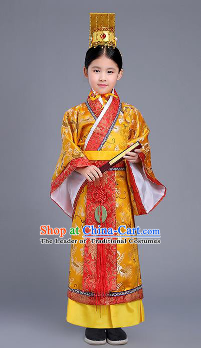 Traditional Ancient Chinese Imperial Emperor Costume, Chinese Han Dynasty Wedding Dress, Cosplay Chinese Imperial King Clothing Hanfu for Kid
