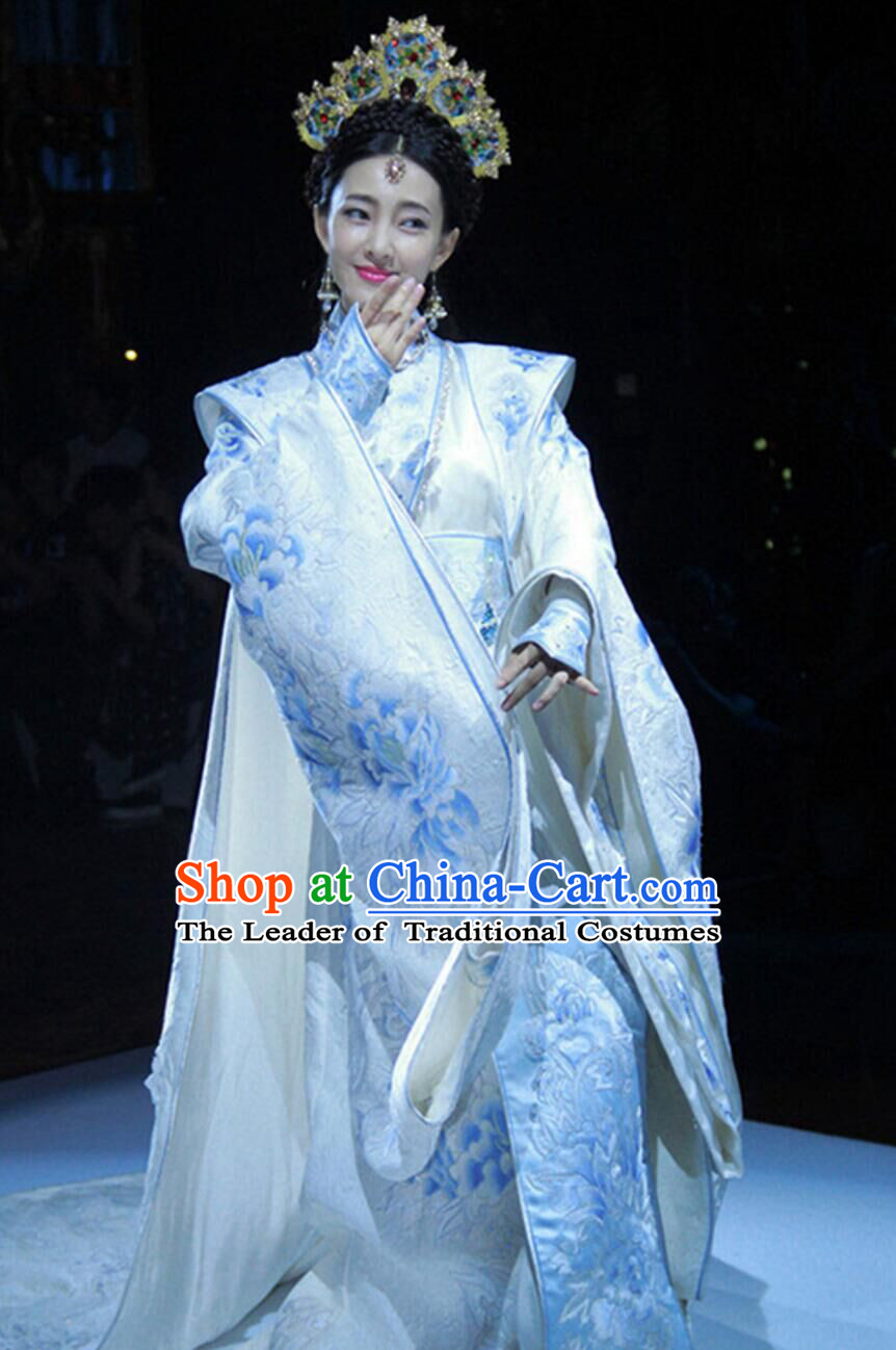 Traditional Ancient Chinese Imperial Emperess Costume, Chinese Tang Dynasty Wedding Dress, Cosplay Chinese Peri Imperial Princess Tailing Clothing Embroidered Hanfu Dress for Women