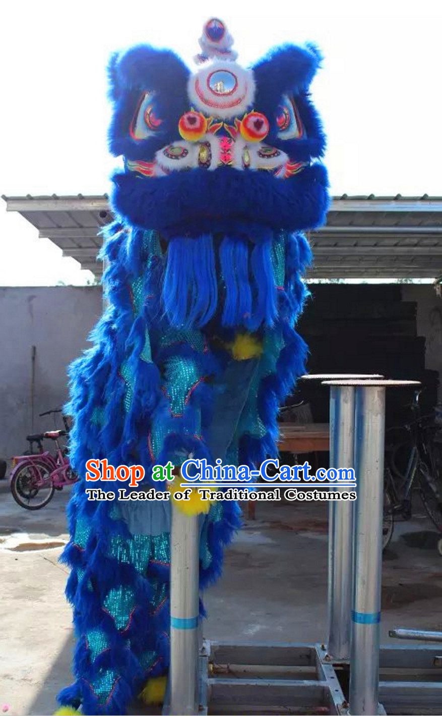 Chinese Folk Arts Natural Wool Lion Dance Costumes Complete Set