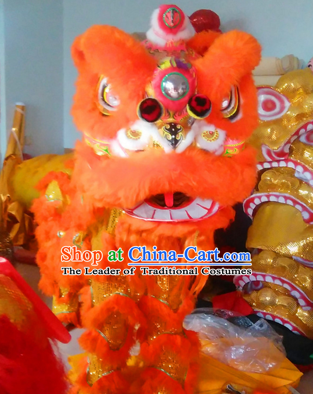 Simple Orange NEW 100% Natural Wool Chinese Lion Dance Costumes Complete Set