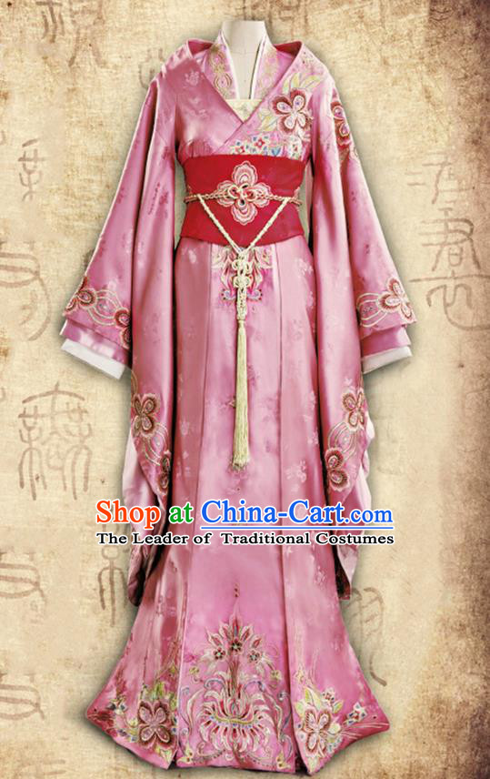 Traditional Ancient Chinese Imperial Princess Costume, Chinese Han Dynasty Young Lady Dance Dress, Cosplay Chinese Peri Imperial Princess Embroidered Clothing Hanfu for Women
