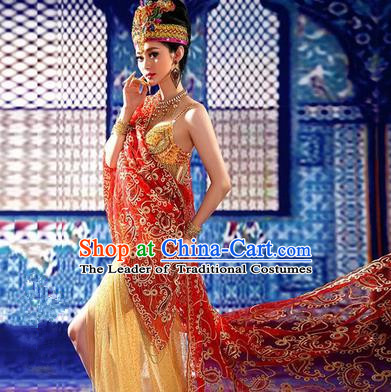 Traditional Ancient Indian Palace Sari Red Costumes, Indian Young Lady Belly Dance Dress for Women