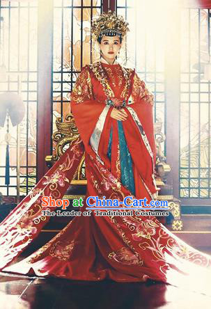 Traditional Ancient Chinese Imperial Emperess Costume Complete Set, Chinese Han Dynasty Bride Wedding Dress, Cosplay Chinese Imperial Emperess Tailing Embroidered Clothing for Women