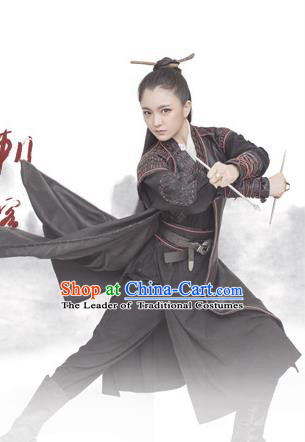 Traditional Ancient Chinese Female Costume, Chinese Tang Dynasty Swordswoman Dress, Cosplay Chinese Heroine Clothing for Women