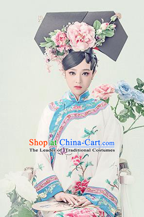 Traditional Ancient Chinese Imperial Consort Costume, Chinese Qing Dynasty Manchu Palace Lady Dress, Cosplay Chinese Manchu Minority Princess Clothing for Women