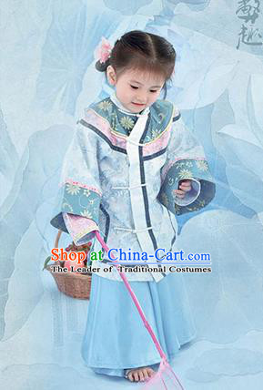 Traditional Ancient Chinese Imperial Princess Costume, Chinese Qing Dynasty Manchu Children Dress, Cosplay Chinese Manchu Imperial Princess Clothing for Kids