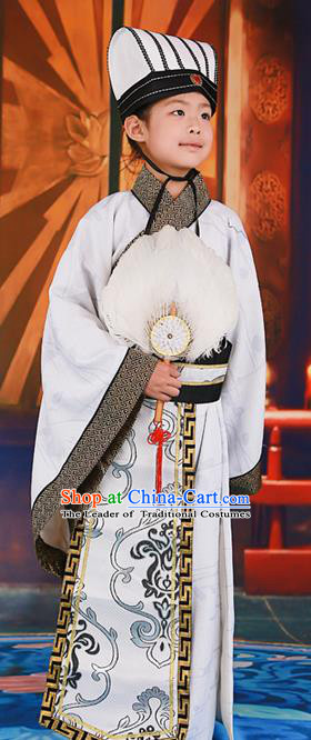 Traditional Ancient Chinese Imperial Minister Costume, Chinese Han Dynasty King Children Dress, Cosplay Chinese Imperial Majesty Embroidered Clothing for Kids