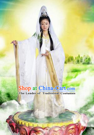 Traditional Ancient Chinese Avalokitesvara Classical Costume, Chinese Avalokitesvara Dance Dress, Cosplay Chinese Peri Guanyin Clothing for Women