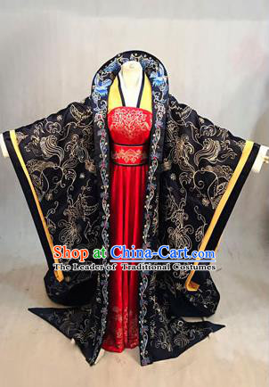 Traditional Ancient Chinese Imperial Emperess Costume, Chinese Han Dynasty Imperial Empress Dowager Dress, Cosplay Chinese Empress Dowager Tailing Clothing Hanfu for Women