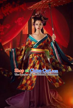 Traditional Ancient Chinese Imperial Emperess Costume, Chinese Tang Dynasty Kimono Dress, Cosplay Lady Yang Chinese Imperial Consort Clothing for Women