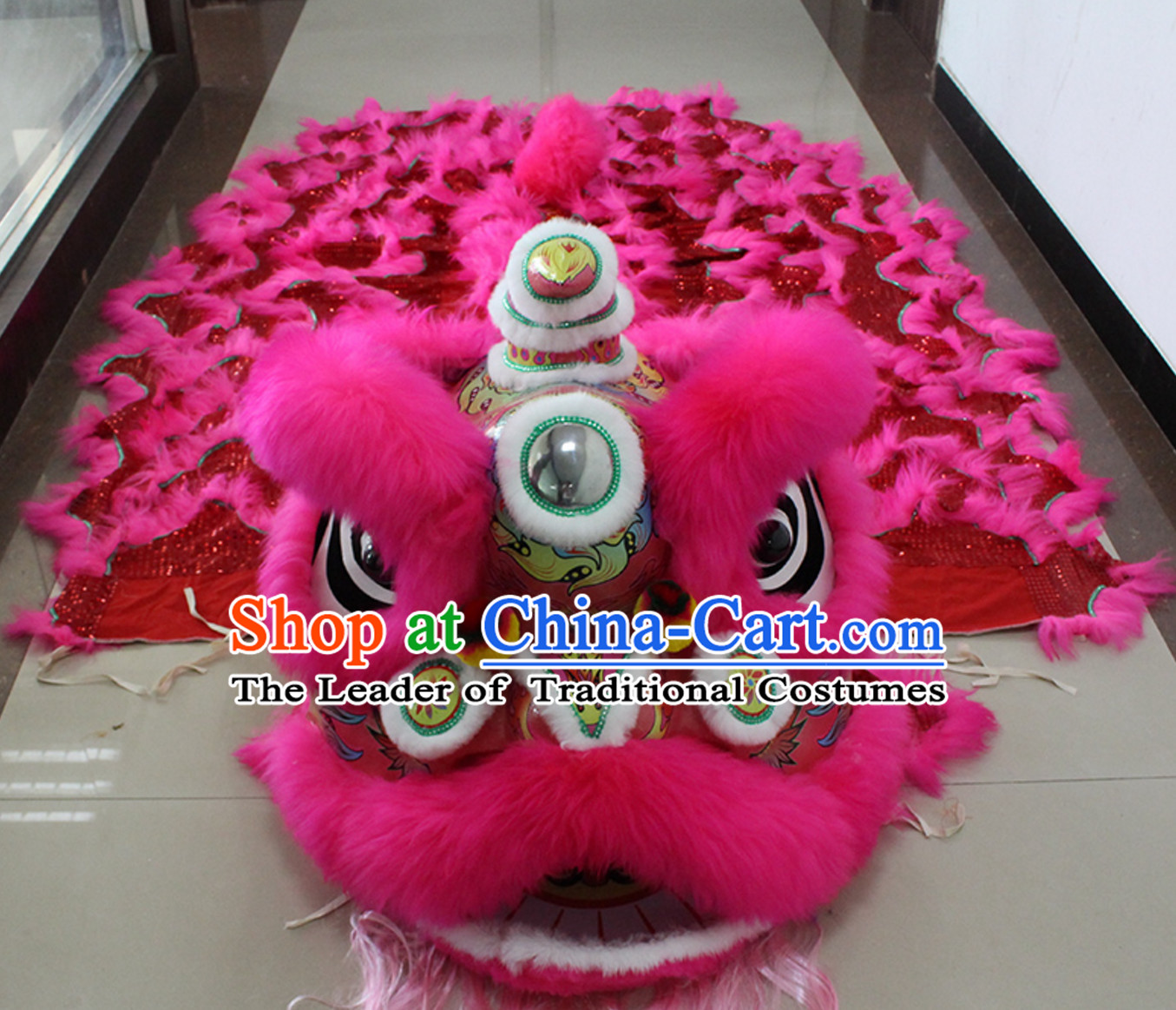 Pink New 100% Long Wool Lion Dancing Costume Complete Set