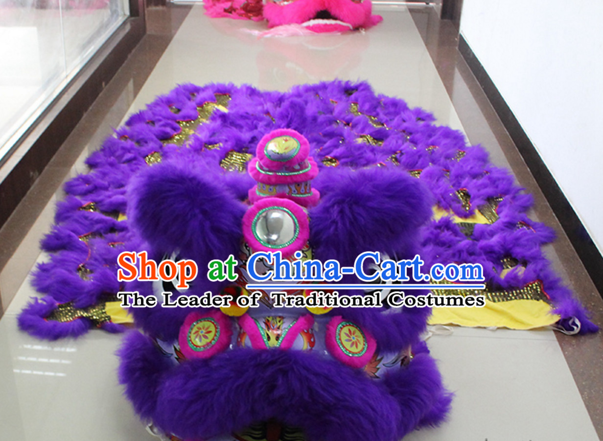 Purple New 100% Long Wool Lion Dancing Costume Complete Set