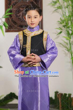 Traditional Ancient Chinese Imperial Prince Costume, Chinese Qing Dynasty Children Dance Dress, Cosplay Chinese Prince Clothing Hanfu for Kids