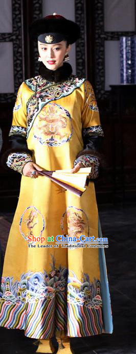Traditional Ancient Chinese Imperial Emperess Costume, Chinese Qing Dynasty Emperess Wedding Dress, Chinese Manchu Emperess Embroidered Phoenix Clothing for Women