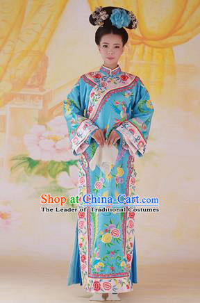 Traditional Ancient Chinese Imperial Consort Costume, Chinese Qing Dynasty Manchu Lady Dress, Cosplay Chinese Mandchous Imperial Concubine Embroidered Clothing for Women