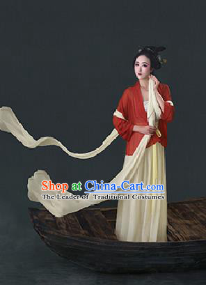 Traditional Ancient Chinese Imperial Emperess Costume, Chinese Han Dynasty Princess Ribbon Dress, Cosplay Chinese Peri Concubine Embroidered Hanfu Clothing for Women