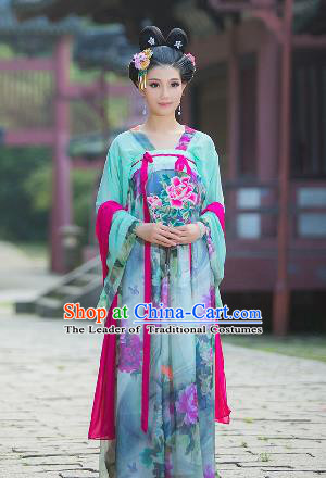 Traditional Ancient Chinese Imperial Emperess Costume, Chinese Tang Dynasty Palace Lady Dress, Cosplay Chinese Princess Peony Printing Clothing for Women