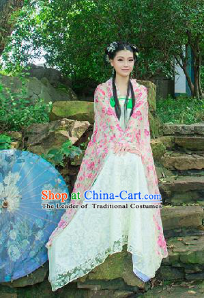 Traditional Ancient Chinese Imperial Emperess Costume, Chinese Tang Dynasty Palace Lady Dress, Cosplay Chinese Princess Printing Flowers Ru Skirt Clothing for Women