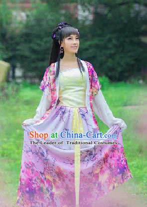 Traditional Ancient Chinese Imperial Emperess Costume, Chinese Tang Dynasty Palace Lady Dress, Cosplay Chinese Princess Printing Flowers Pink Hanfu Ru Skirt Clothing for Women