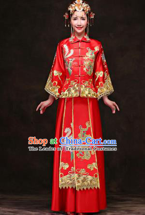 Traditional Ancient Chinese Costume Xiuhe Suits, Chinese Style Wedding Red Dress, Ancient Women Longfeng Dragon And Phoenix Flown Bride Toast Cheongsam for Women