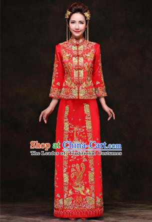 Traditional Ancient Chinese Costume Xiuhe Suits, Chinese Style Wedding Red Dress, Ancient Women Dragon And Phoenix Flown Bride Toast Cheongsam for Women