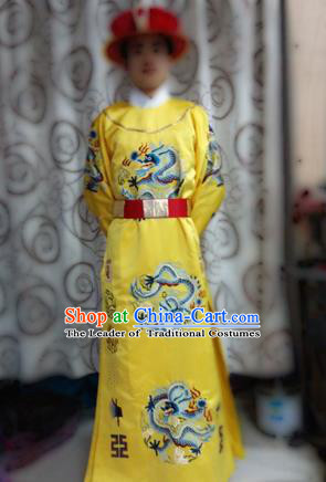 Traditional Ancient Chinese Imperial Emperor Costume, Chinese Ming Dynasty Emperor Dress, Cosplay Chinese Majesty Embroidered Clothing Hanfu Complete Set for Men