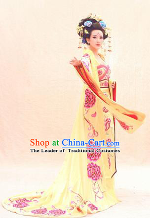 Traditional Ancient Chinese Imperial Emperess Costume, Chinese Tang Dynasty Dance Dress, Chinese Peri Imperial Queen Embroidered Hanfu Trailing Clothing for Women